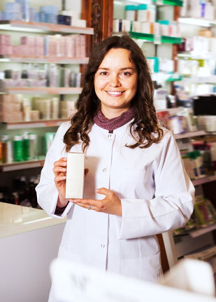 a woman showing a product